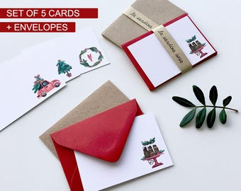 Set 5 Christmas cards, Season greetings cards set, Xmas card, Mini cards, Christmas Gift tags set, Holiday card set