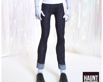 "Monster Doll Haunt Couture Boys ""Street Manster Cuffed Black Jeans"" high fashion doll clothes overalls 