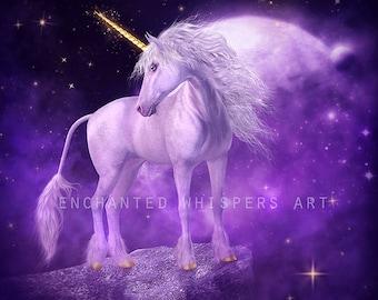 Unicorn art print, white Unicorn art, fantasy Unircorn art, white horse art, Unicorn wall art, Unicorn decor, purple art print, fantasy art