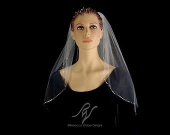 Bridal Wedding Veil with Quarter Inch Rhinestone Edge, Made With SWAROVSKI ELEMENTS