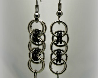 Peridot Celtic Line Style Chainmaille, Chain Maille, Chain Mail & Czech Glass Earrings - 6160005