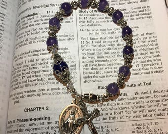 Immaculate Mary Blue Jade and Swarovski Crystals Rosary Bracelet-Catholic- Rosary Beads