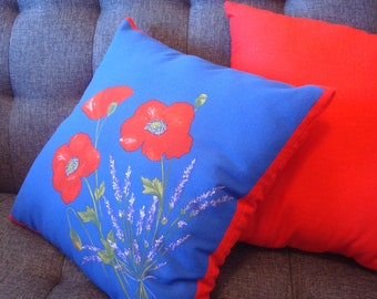 A Set of Blue and Red Pillows