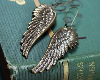 Wing Earrings - Oxidized Brass