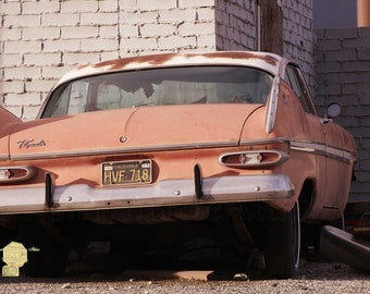 Old Faded Red Plymouth in Sunset Tones Classic car Classic Cars  Photograph Garage or  Man Cave Masculine Print Wall Hanging Home Decor