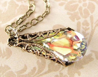 Swarovski Aurora Clear Crystal Necklace April Birthstone