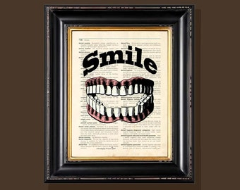 "Fine Art Print - ""Smile"" - 8.5""x11"", Vintage Dentist print, Orthodontist gift, Dentist gift, Dental Assistant gift, Dentist Office art"