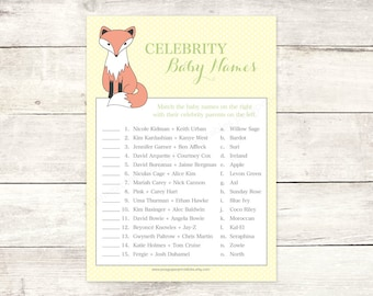 fox baby shower celebrity baby names matching game card printable boy fox DIY yellow polka dots baby shower digital games - INSTANT DOWNLOAD