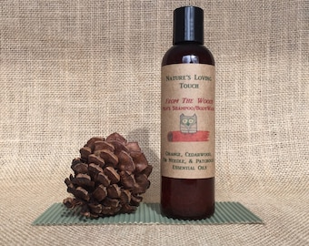 Mens Shampoo/Bodywash All Natural From The Woods. Amazing woodsy, manly smell of Orange, Cedarwood, Fir and Patchouli Essential Oils