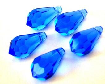 3 sapphire blue Swarovski pendants, 15mm blue crystal briolette teardrop pendants, out of circulation