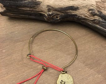 Bronze Bangle Bracelet with red.