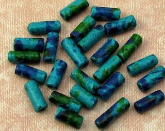 Greek Ceramic Skinny Tube Beads, Aegean Mix, 3.5x8 mm, 25 Pieces M372