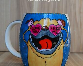 Pug mug Dog mug Dog lover gift  Gifts for dog lovers Dog painting Pug dog Funny dog mug Dog coffee mug Dog lover mug Dog cup Cute mugs