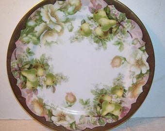 Imperial Crown China Austria Gold Trimmed Collectors Plate, Cabinet Plate, Fruit and Flowers Plate, Pears and Dogwodd Austrian Plate