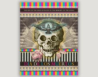 Day of the Dead Art, Dia De Los Muertos, macabre art, pastel goth, macabre decor, goth decor, Halloween art, dorm poster, Mexican holiday