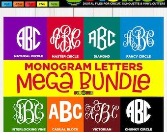 Monogram Letters SVG, Monogram Alphabet SVG, Master Circle SVG, Circle Monogram svg, Vine Monogram svg, Cricut Letters, Silhouette Letters
