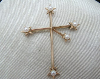 a567 Vintage Southern Cross Constellation Brooch with Pearls in 14k Yellow Gold