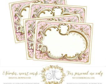 Digital Printable Place Cards, Wedding, Escort Cards, Blank Birthday, Pink, Place cards, number cards, Personal use only