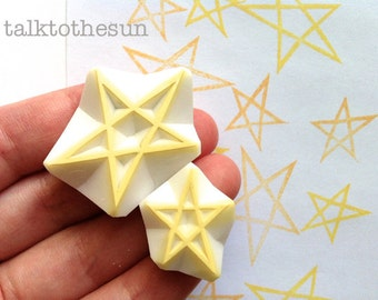 star rubber stamp set | christmas birthday card making | diy gift wrapping | winter crafts | hand carved by talktothesun | set of 2