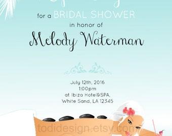 Spa Day Bridal Shower Invitation Design Printable