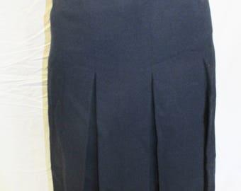 "Vintage Navy Blue Wool Skirt Dana Cote D'Azure Skirt Vintage Lined Wool Skirt Size Small/25"" Waist French Import Made In France 1970s 70s"
