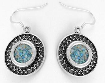 Yemenite Design Earrings with Roman Glass in Oxidized Silver