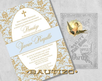Elegant Spanish Baptism Invitations - Blue and Gold Baby Boy Bautizo Invitación Damask - Printed Baptism Invitations with Envelopes