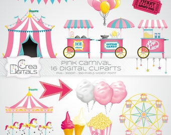 Pink carnival / circus - 16 digital cliparts - INSTANT DOWNLOAD