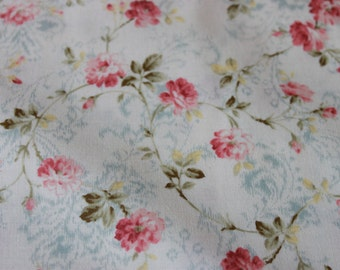 Quilt Gate Classic Fabric  MR 2060 15B Pink Roses Blue Plumes