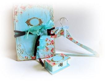 Wedding Set of Guest Book Wedding Ring Box and Dress Hanger Custom Guest Book Turquoise Bride Hanger Ring Holder Unique Bridal Shower Gift