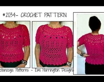 Crochet PATTERN, sweater pattern, pullover top,   vest, tops, crochet for women, Adult S, M, L, 32 - 46 inch chest, #2034