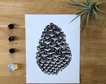 Cone, 2018 (Original Hand-pulled Linocut)