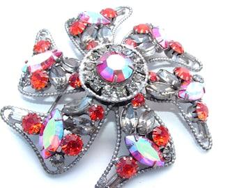 Alice Caviness Rhinestone Brooch Tangerine Orange Pinwheel Statement Jewelry Designer Vintage