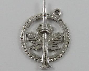 Maple Leaf & CN Tower, Toronto Sterling Silver Vintage Charm For Bracelet