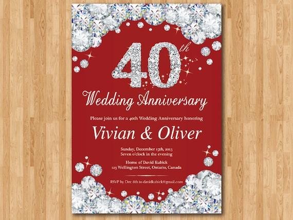 40th Wedding Anniversary Invitation Ruby Red Wedding