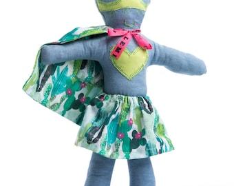 Rag doll superhero Miss Exotic-fabric rag doll