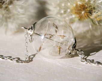Dandelion Seed Necklace Dandelion Necklace Wish Necklace Terrarium Necklace Glass orb jewelry Long necklace Anniversary gift Mothers day