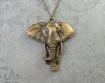Elephant Necklace LARGE Bronze Elephant Jewelry Elephant Pendant Necklace Brass Elephant Charm Necklace Safari Animal Necklace Elephant Gift