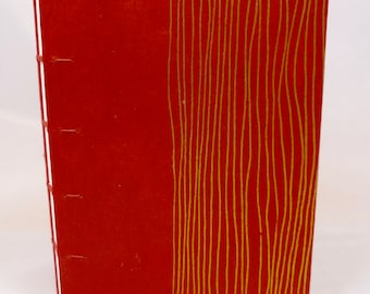 Hand-Sewn Red and Gold Stripe Journal