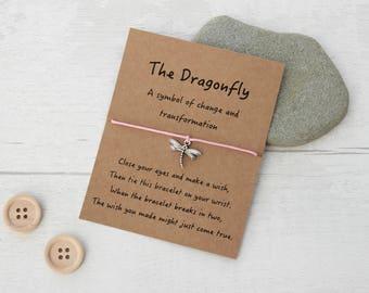 Dragonfly Wish Bracelet, Dragonfly Bracelet, Dragonfly Gift, Dragonfly Jewellery, Gift for Dragonfly Lover, Friendship Bracelet
