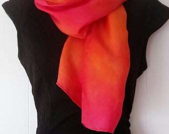 100% Silk scarf, handpainted, colourblended
