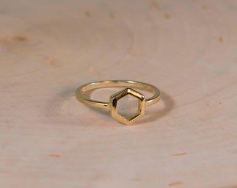 Hexagon Ring, 14k Yellow Gold Ring, Fashion Ring, Honeycomb Ring