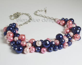 Navy & Pink Pearl Necklace, Rose and Navy Cluster Necklace, Shades of Pink and Blue Necklace, Pearl Chunky Necklace, Navy and Pink Necklace