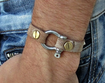 Mens Leather Shackle Bracelet Mens Nautical Key Leather bracelet Cuff  Customized On Your Wrist