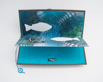 Fish Out of Water, Handmade, Pop-Up Accordion Artist Book with Poem