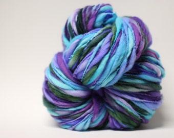 Handspun Merino Wool Yarn Thick and Thin Slub tts(tm) Hand dyed Half-Pounder LR 1607x