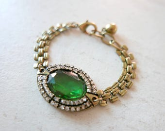 Bracelet Royal green vintage style glass