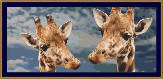 Giraffe Faces Cross Stitch Pattern /Digital PDF Files /Instant downloadable