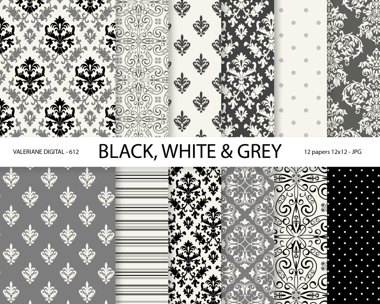 Black and white damask paper damask digital paper black and zoom jeuxipadfo Gallery