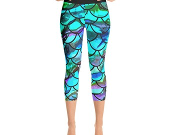 Fish Scale Yoga Capri Leggings